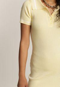 Renee - Żółta Sukienka Selestiphis. Okazja: na co dzień. Kolor: żółty. Materiał: dzianina. Długość rękawa: krótki rękaw. Wzór: prążki, aplikacja. Typ sukienki: sportowe. Styl: sportowy, casual. Długość: mini