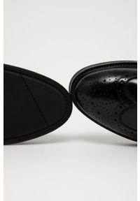 Czarne półbuty GANT na sznurówki, eleganckie, z cholewką, z okrągłym noskiem