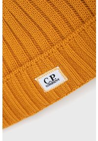 C.P. Company - Czapka wełniana. Kolor: pomarańczowy. Materiał: wełna. Wzór: ze splotem