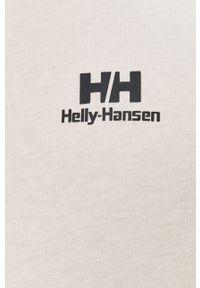 Biała koszulka z długim rękawem Helly Hansen casualowa, na co dzień, z nadrukiem
