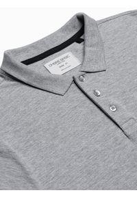 Ombre Clothing - Koszulka męska polo bawełniana S1382 - jasnoszara - XXL. Typ kołnierza: polo. Kolor: szary. Materiał: bawełna. Wzór: nadruk. Styl: klasyczny