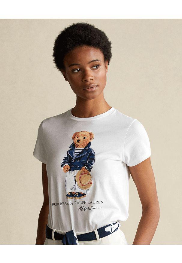 Ralph Lauren - RALPH LAUREN - Biała koszulka z misiem. Okazja: na co dzień. Typ kołnierza: polo. Kolor: biały. Materiał: jeans, bawełna. Wzór: nadruk. Sezon: wiosna. Styl: casual, klasyczny