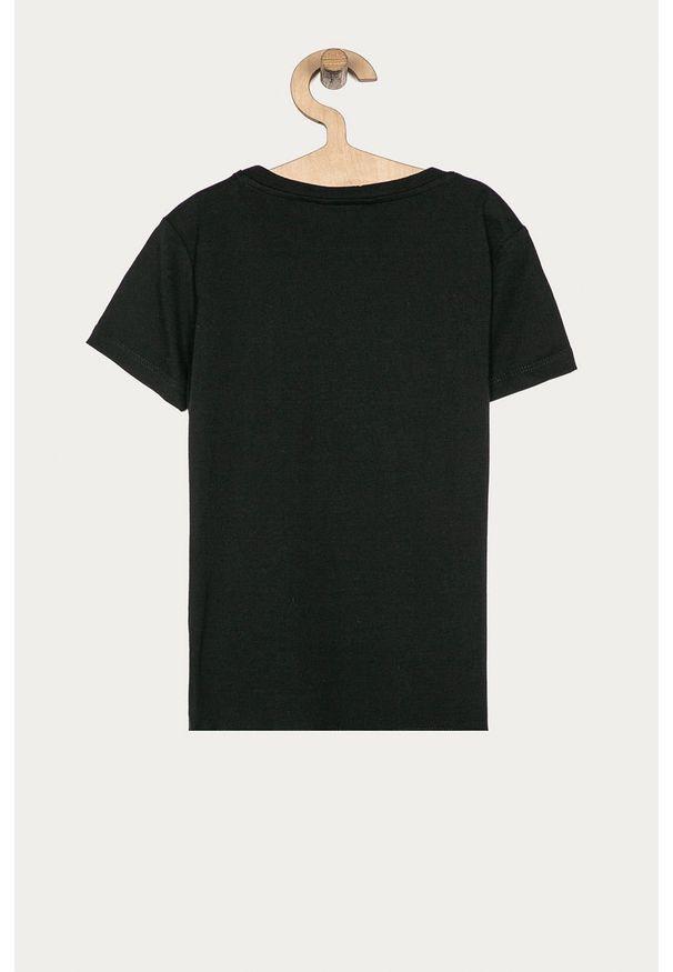 Czarna bluzka z krótkim rękawem Guess Jeans z aplikacjami, na co dzień