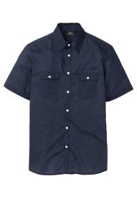 Niebieska koszula bonprix na lato, z krótkim rękawem, krótka