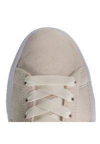 Beżowe buty sportowe Puma z aplikacjami, Puma Suede, na płaskiej podeszwie, z cholewką