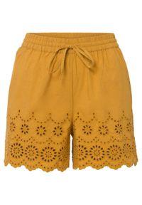 Szorty z ażurowym haftem bonprix żółty musztardowy. Kolor: żółty. Wzór: haft, ażurowy