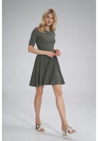 e-margeritka - Sukienka wiskozowa na lato rozkloszowana oliwkowa - s. Kolor: oliwkowy. Materiał: wiskoza. Sezon: lato. Typ sukienki: rozkloszowane