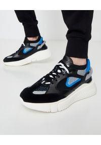BUSCEMI - Czarne sneakersy Veloce 2. Kolor: czarny. Materiał: dresówka, guma, materiał. Wzór: aplikacja. Sezon: lato