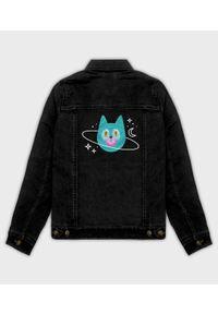 MegaKoszulki - Kurtka jeansowa damska Planeta Kot. Materiał: jeans. Wzór: nadruk. Sezon: wiosna. Styl: klasyczny