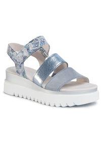 Niebieskie sandały Gabor na średnim obcasie, casualowe