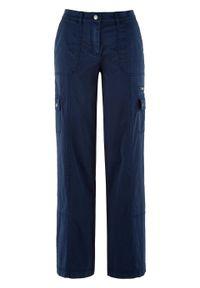 Spodnie bojówki Loose Fit z wygodnym paskiem bonprix ciemnoniebieski. Kolor: niebieski