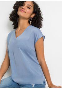 Bluzka satynowa bez rękawów bonprix matowy niebieski. Kolor: niebieski. Materiał: satyna. Długość rękawa: bez rękawów