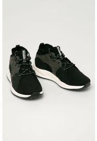 Czarne sneakersy columbia z okrągłym noskiem, z cholewką, na sznurówki