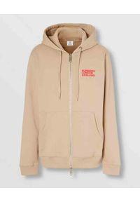 Burberry - BURBERRY - Beżowa bluza z organicznej bawełny. Okazja: na co dzień. Kolor: beżowy. Materiał: bawełna. Wzór: nadruk. Styl: casual