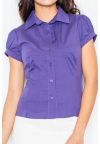 Figl - Ciemnofioletowa Elegancka Koszula z Krótkim Rękawem. Kolor: fioletowy. Materiał: bawełna, lycra, nylon. Długość rękawa: krótki rękaw. Długość: krótkie. Styl: elegancki