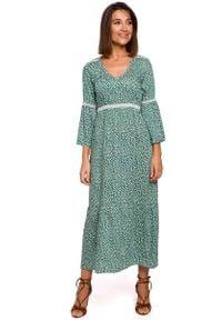 MOE - Sukienka Maxi w Stylu Boho - Model 1. Materiał: wiskoza, poliester. Styl: boho. Długość: maxi