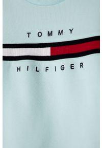 Niebieska bluza TOMMY HILFIGER z aplikacjami, na co dzień, casualowa
