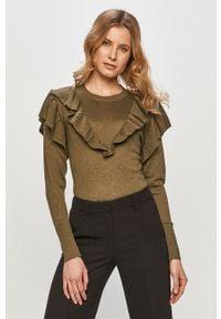 Zielony sweter Jacqueline de Yong gładki, casualowy