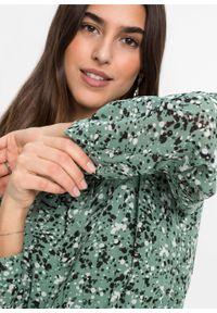 Sukienka z nadrukiem bonprix turkusowo-czarny -biel wełny. Kolor: niebieski. Materiał: wełna. Wzór: nadruk