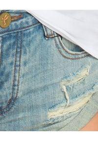 ONETEASPOON - Spodenki Country. Stan: obniżony. Kolor: niebieski. Materiał: tkanina, jeans. Wzór: aplikacja. Sezon: lato. Styl: klasyczny