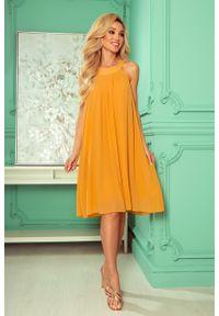 Numoco - Zwiewna Szyfonowa Sukienka Wiązana na Plecach - Miodowa. Kolor: pomarańczowy. Materiał: szyfon