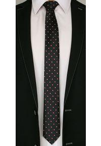Czarny Elegancki Krawat Męski -Angelo di Monti- 6 cm, w Czerwone Figury Geometryczne. Kolor: czerwony. Wzór: geometria. Styl: elegancki