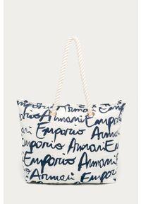 Biała torba plażowa Emporio Armani duża, na ramię