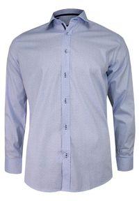Niebieska elegancka koszula Grzegorz Moda Męska długa, na spotkanie biznesowe, z długim rękawem