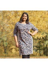 Wielokolorowa sukienka dla puszystych Moda Size Plus Iwanek do pracy, w kwiaty, elegancka