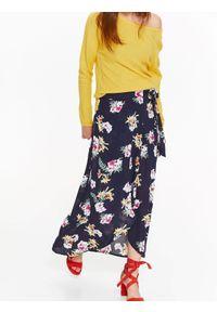 Niebieska spódnica TROLL w kwiaty, na wiosnę, krótka, casualowa