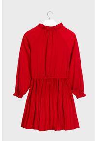 Czerwona sukienka Mayoral z długim rękawem, rozkloszowana, mini