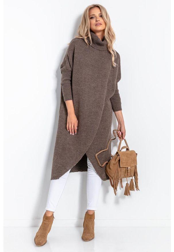 Brązowy sweter Fobya długi, z golfem