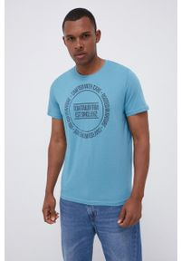 Tom Tailor - T-shirt bawełniany. Okazja: na co dzień. Kolor: turkusowy. Materiał: bawełna. Wzór: nadruk. Styl: casual