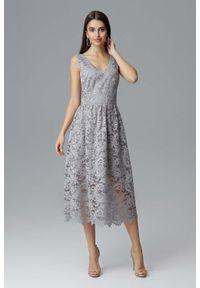 Szara sukienka wieczorowa Figl na ramiączkach