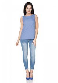 Tessita - Niebieska Bluzka bez Rękawów. Kolor: niebieski. Materiał: wiskoza, poliester. Długość rękawa: bez rękawów