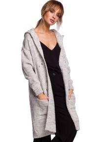 Sweter MOE długi, w ażurowe wzory, z kapturem
