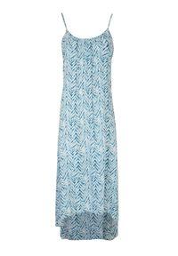 TOP SECRET - Asymetryczna sukienka na lato w drobny wzór. Kolor: biały. Sezon: lato. Typ sukienki: asymetryczne
