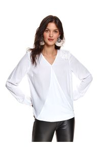 Biała bluzka TOP SECRET z dekoltem w serek