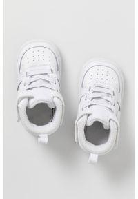 Białe buty sportowe Nike Kids na rzepy, Nike Court, z cholewką, z okrągłym noskiem