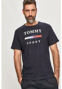 Niebieski t-shirt Tommy Sport na co dzień, sportowy, z nadrukiem