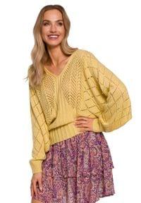 MOE - Ażurowy Sweter z Nietoperzowym Rękawem - Żółty. Kolor: żółty. Materiał: akryl, poliamid. Wzór: ażurowy