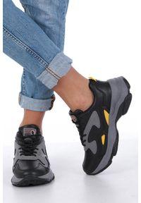 Casu - czarne buty sportowe sneakersy sznurowane casu ds13003. Kolor: czarny. Materiał: skóra ekologiczna, materiał. Szerokość cholewki: normalna
