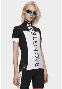 4f - Koszulka rowerowa damska RKD150 - biały. Typ kołnierza: kołnierzyk stójkowy. Kolor: biały. Materiał: włókno. Długość: długie. Sport: kolarstwo
