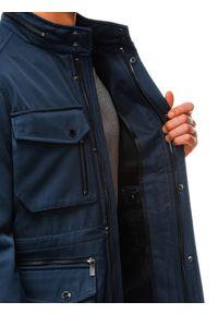 Ombre Clothing - Kurtka męska wiosenna C444 - ciemnogranatowa - XXL. Typ kołnierza: kołnierzyk stójkowy. Kolor: niebieski. Materiał: poliester. Sezon: wiosna