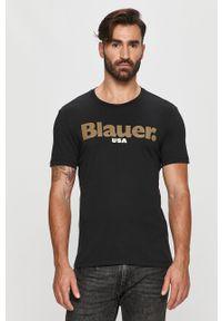 Czarny t-shirt Blauer na co dzień, casualowy, z okrągłym kołnierzem