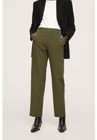 mango - Mango - Spodnie Dorado. Okazja: na co dzień. Kolor: zielony. Materiał: włókno. Styl: casual