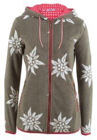Bluza rozpinana z polaru w stylowy biały wzór bonprix ciemnooliwkowy melanż. Kolor: zielony. Materiał: polar. Wzór: melanż. Styl: elegancki
