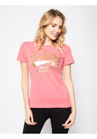 Superdry T-Shirt Text Infill Entry W1010026A Różowy Regular Fit. Kolor: różowy