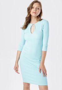 Born2be - Miętowa Sukienka Klelira. Kolor: miętowy. Materiał: dzianina. Wzór: prążki, aplikacja. Długość: midi