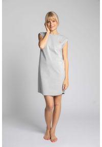 MOE - Sukienka z Bawełny Prążkowanej bez Rękawów - Jasnoszara. Kolor: szary. Materiał: bawełna, prążkowany. Długość rękawa: bez rękawów